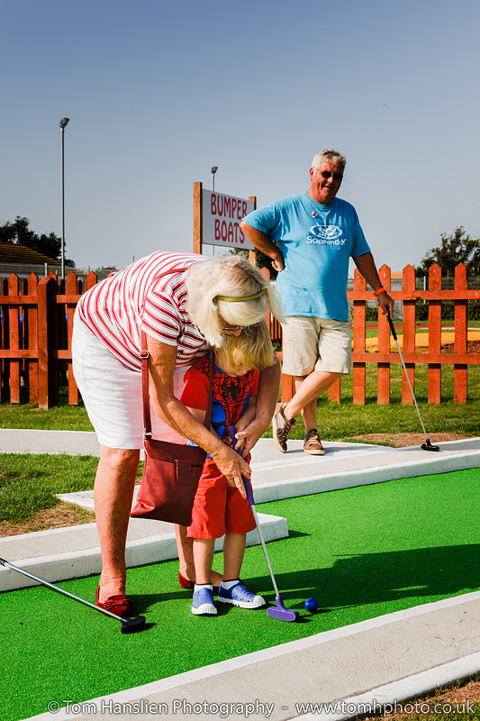 Playing crazy golf with the grand parents.