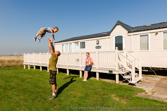 Fun family times on the lawn by the caravan.